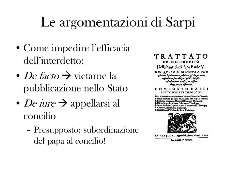Le argomentazioni di Sarpi