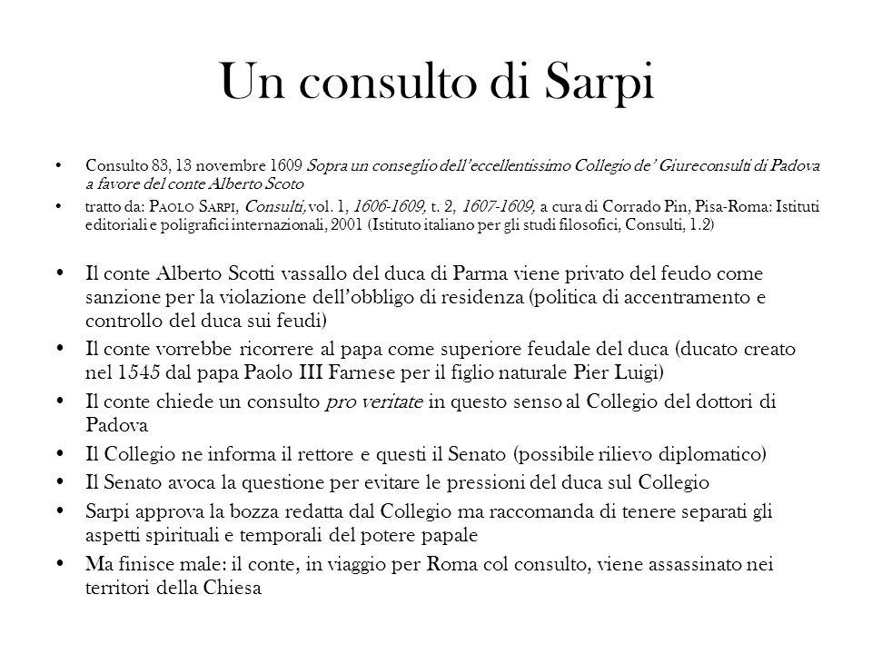 Un consulto di Sarpi