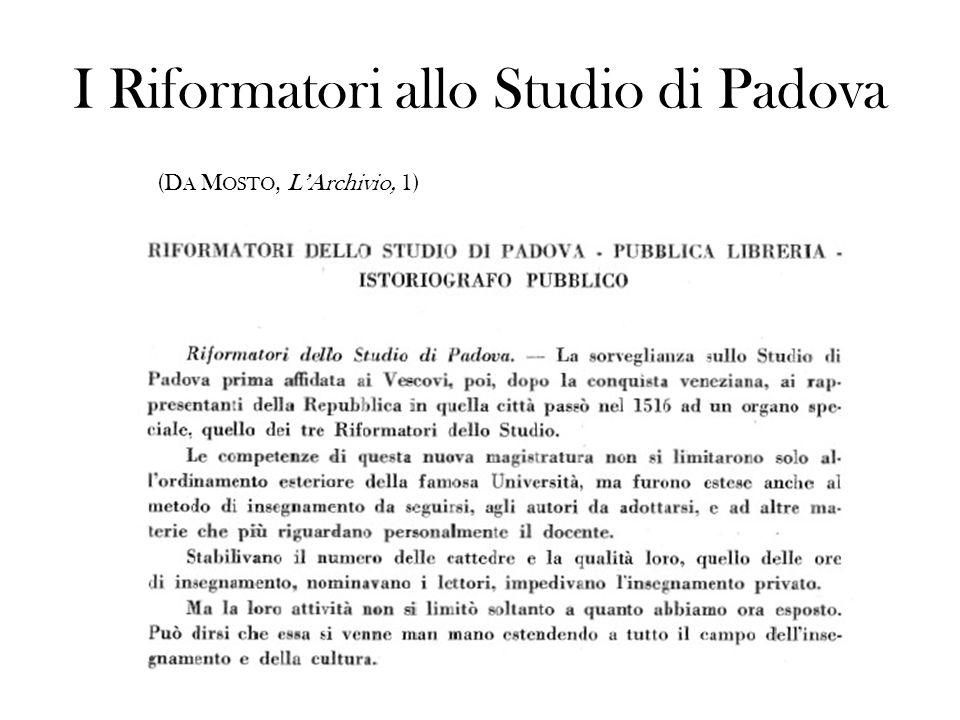 I Riformatori allo Studio di Padova