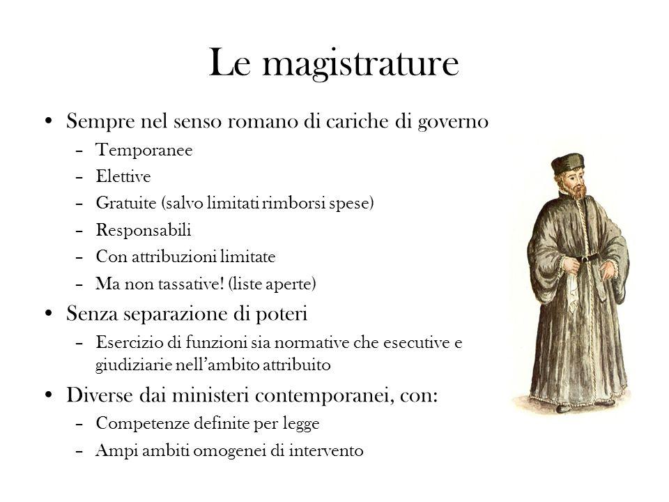 Le magistrature Sempre nel senso romano di cariche di governo