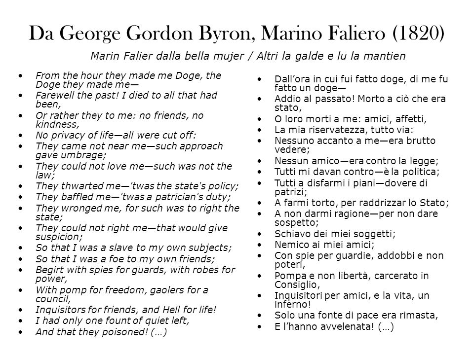 Da George Gordon Byron, Marino Faliero (1820)
