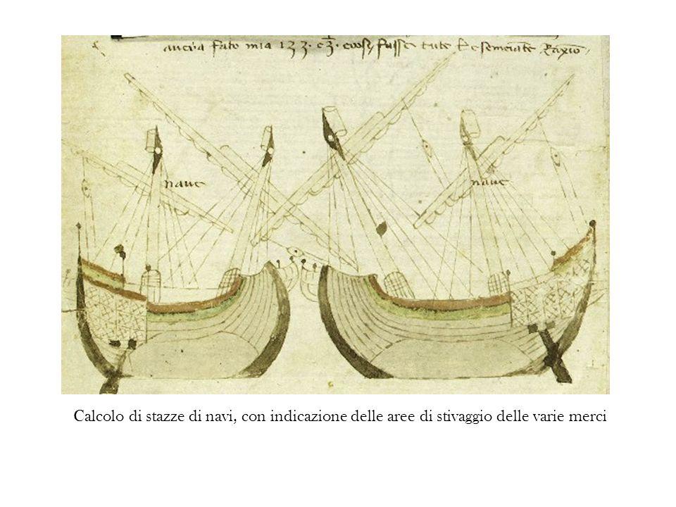 Calcolo di stazze di navi, con indicazione delle aree di stivaggio delle varie merci