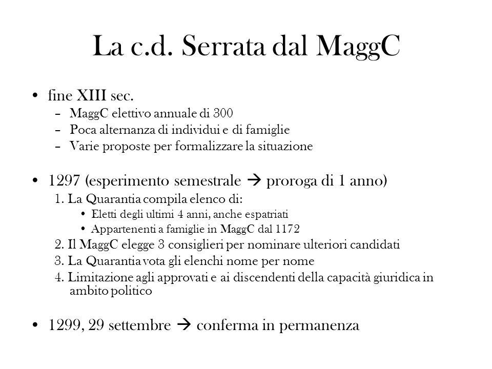 La c.d. Serrata dal MaggC fine XIII sec.