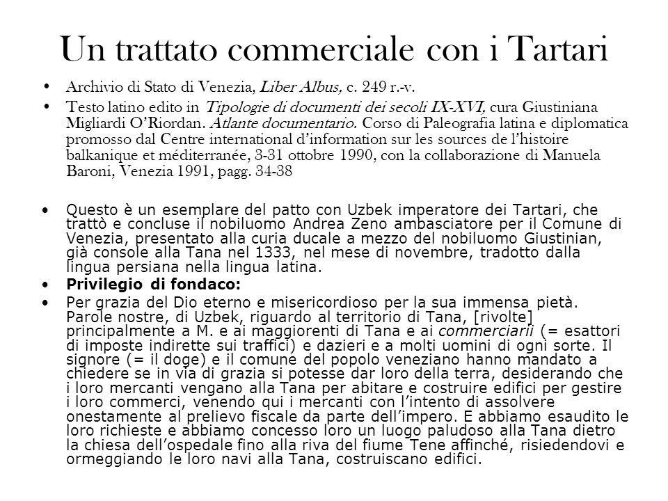 Un trattato commerciale con i Tartari