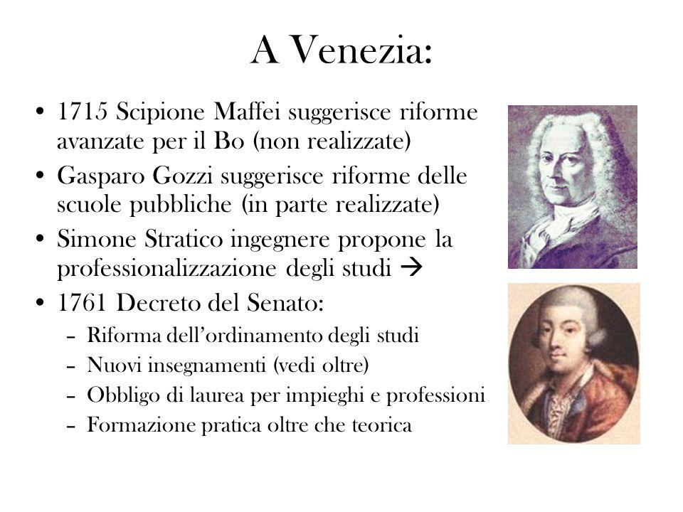 A Venezia:1715 Scipione Maffei suggerisce riforme avanzate per il Bo (non realizzate)