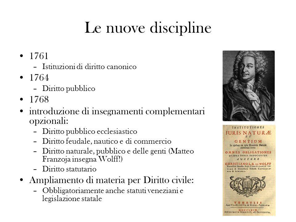Le nuove discipline 1761. Istituzioni di diritto canonico. 1764. Diritto pubblico. 1768. introduzione di insegnamenti complementari opzionali: