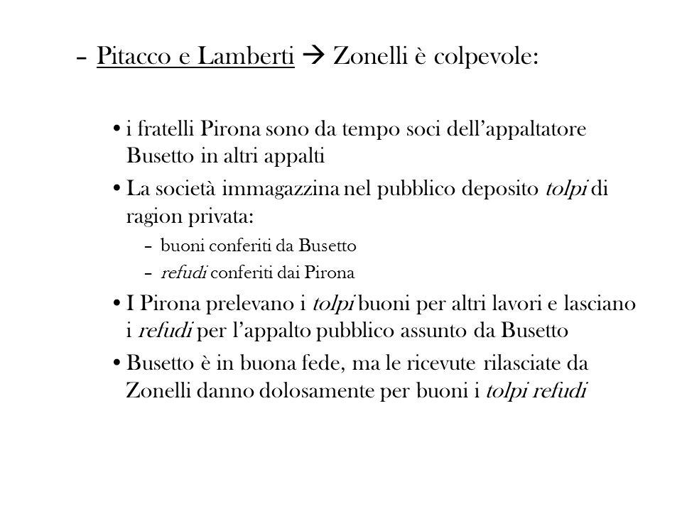 Pitacco e Lamberti  Zonelli è colpevole: