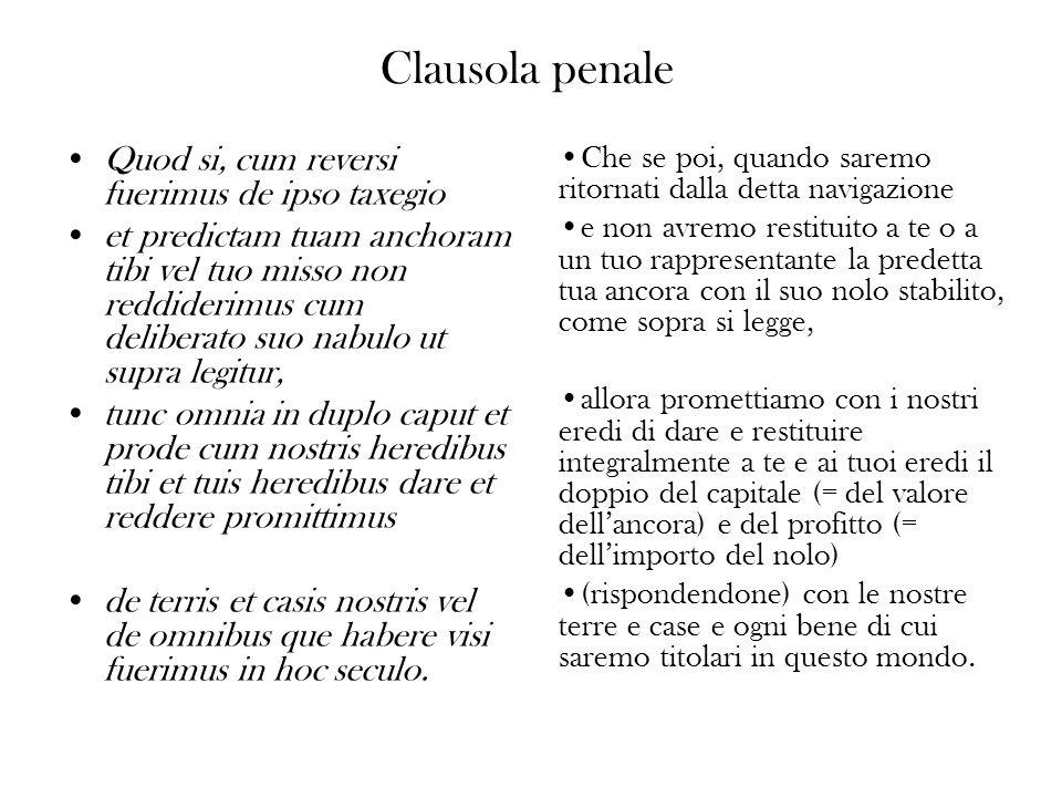 Clausola penale Quod si, cum reversi fuerimus de ipso taxegio