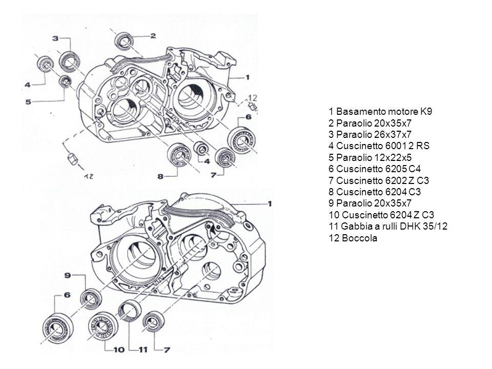 1 Basamento motore K9 2 Paraolio 20x35x7 3 Paraolio 26x37x7 4 Cuscinetto 6001 2 RS 5 Paraolio 12x22x5 6 Cuscinetto 6205 C4 7 Cuscinetto 6202 Z C3 8 Cuscinetto 6204 C3 9 Paraolio 20x35x7 10 Cuscinetto 6204 Z C3 11 Gabbia a rulli DHK 35/12 12 Boccola