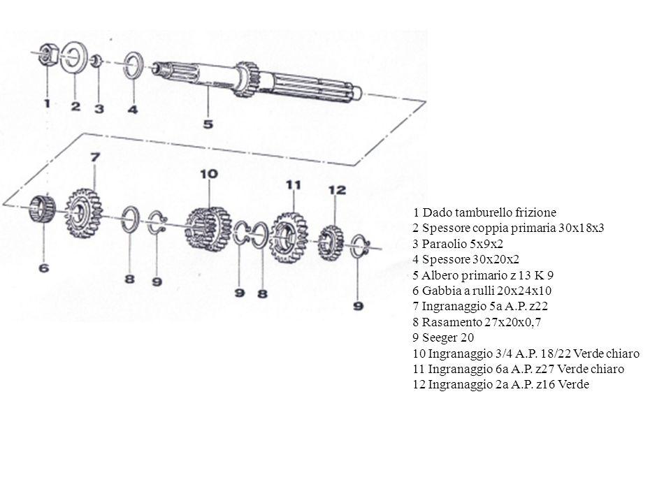 1 Dado tamburello frizione 2 Spessore coppia primaria 30x18x3 3 Paraolio 5x9x2 4 Spessore 30x20x2 5 Albero primario z 13 K 9 6 Gabbia a rulli 20x24x10 7 Ingranaggio 5a A.P.