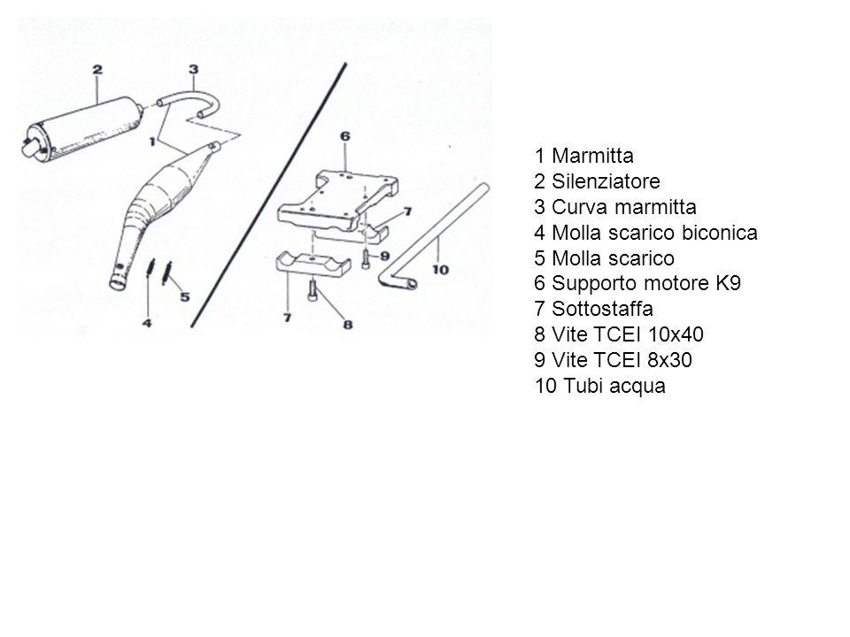 1 Marmitta 2 Silenziatore 3 Curva marmitta 4 Molla scarico biconica 5 Molla scarico 6 Supporto motore K9 7 Sottostaffa 8 Vite TCEI 10x40 9 Vite TCEI 8x30 10 Tubi acqua