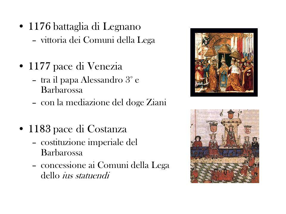 1176 battaglia di Legnano 1177 pace di Venezia 1183 pace di Costanza