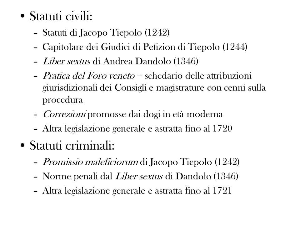 Statuti civili: Statuti criminali: Statuti di Jacopo Tiepolo (1242)