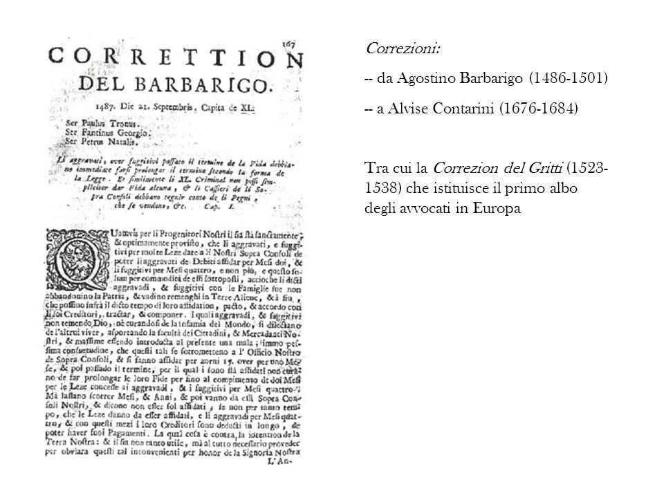 Correzioni: -- da Agostino Barbarigo (1486-1501) -- a Alvise Contarini (1676-1684)