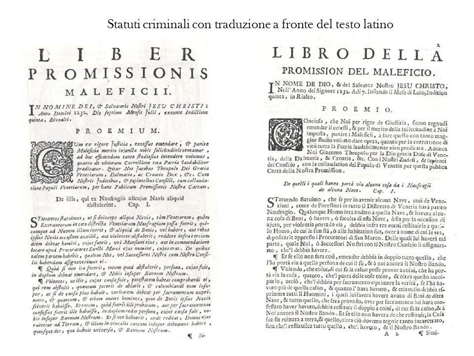 Statuti criminali con traduzione a fronte del testo latino