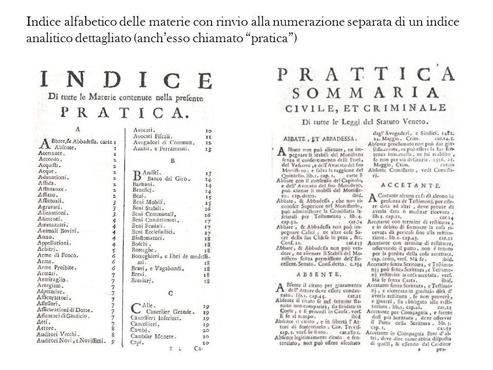 Indice alfabetico delle materie con rinvio alla numerazione separata di un indice analitico dettagliato (anch'esso chiamato pratica )