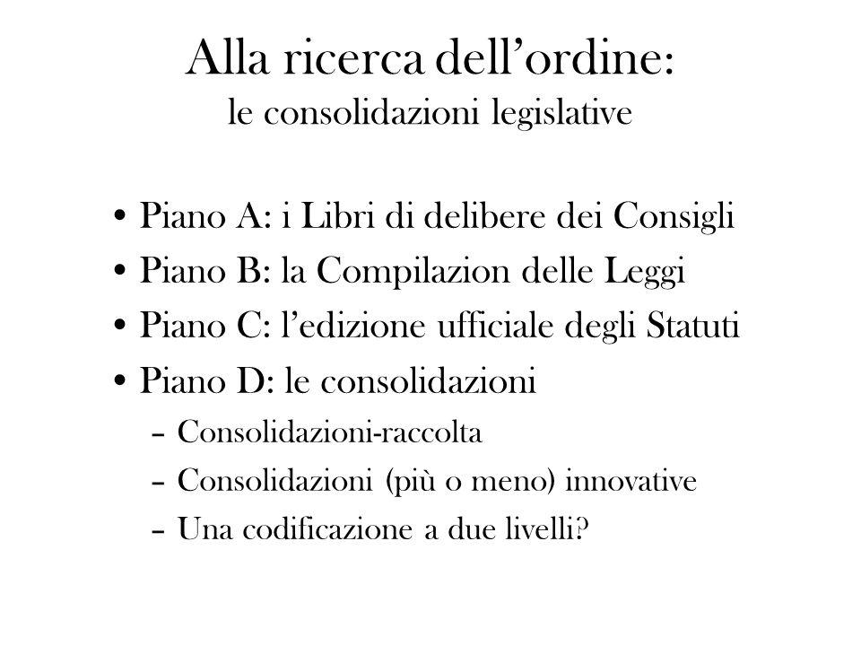 Alla ricerca dell'ordine: le consolidazioni legislative