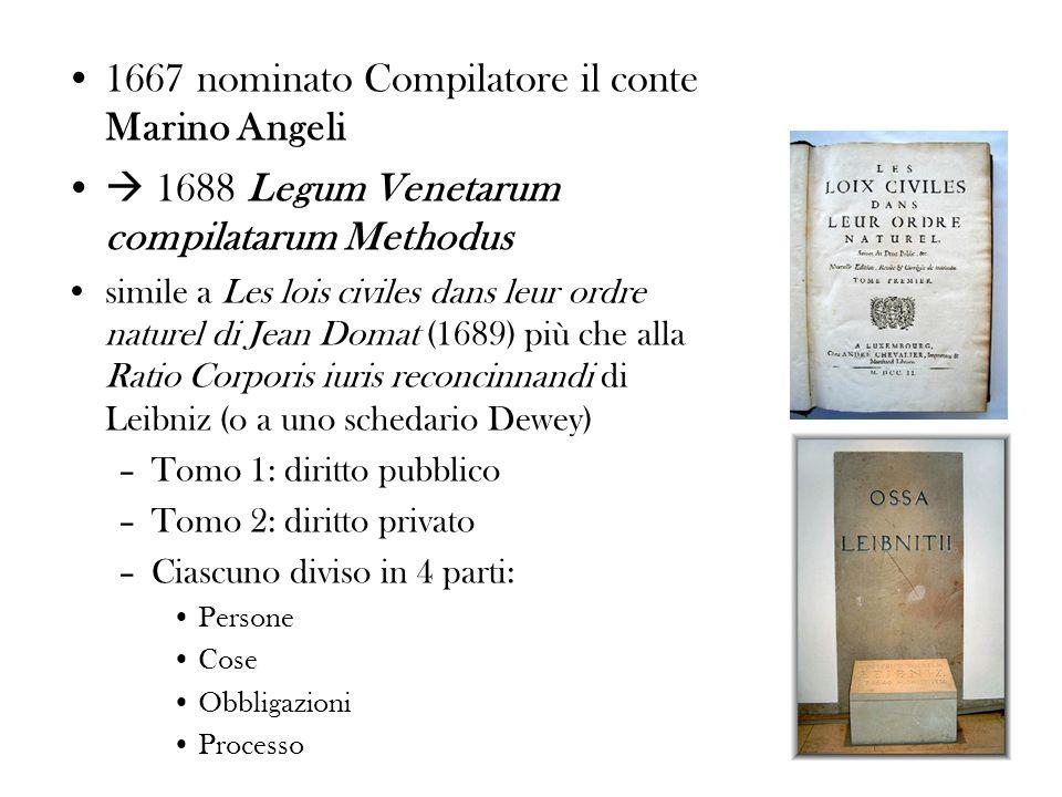 1667 nominato Compilatore il conte Marino Angeli