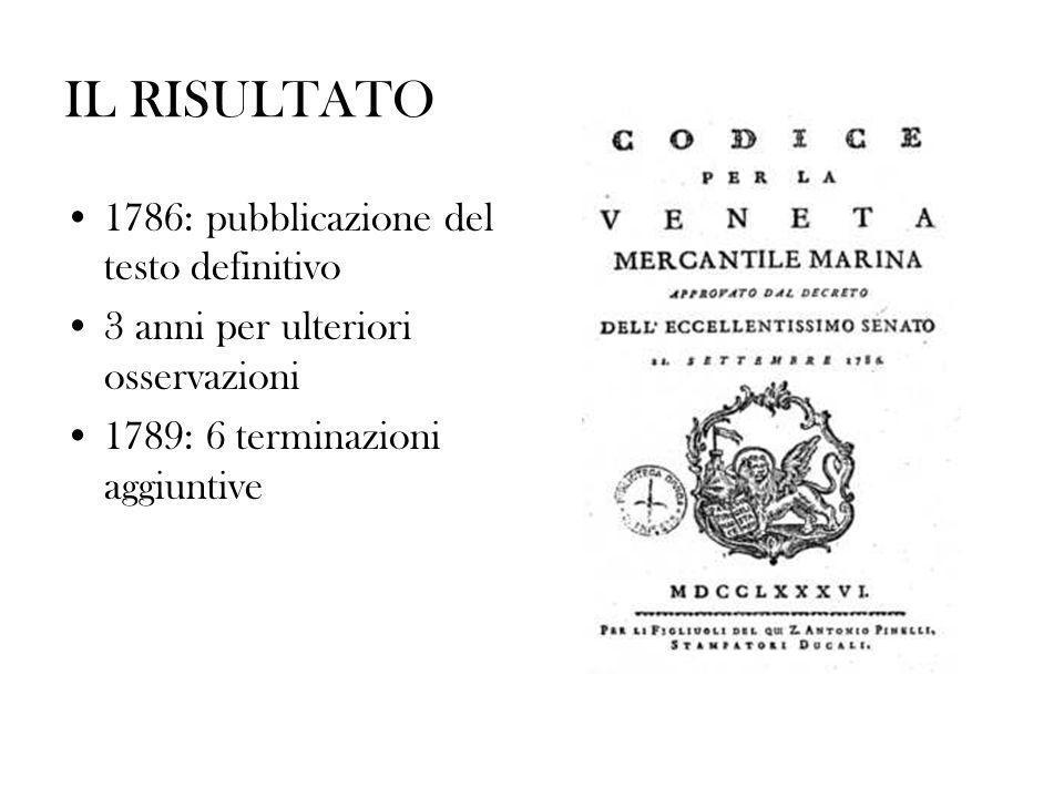 IL RISULTATO 1786: pubblicazione del testo definitivo
