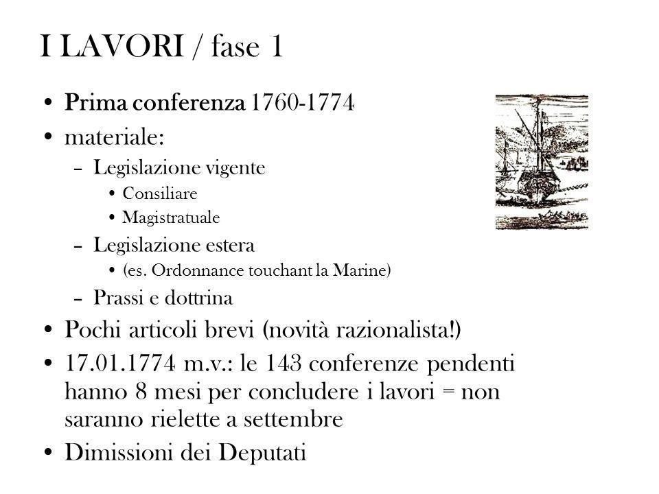 I LAVORI / fase 1 Prima conferenza 1760-1774 materiale: