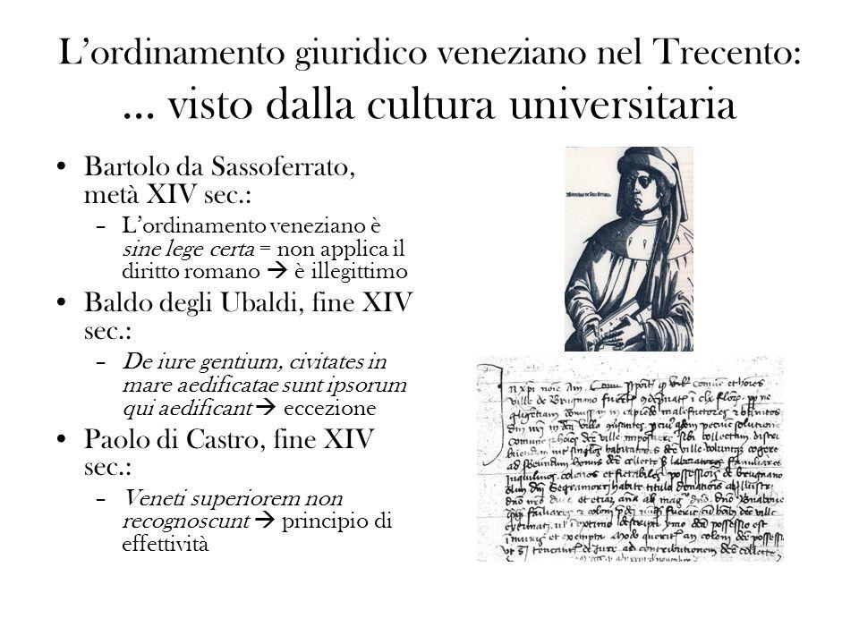 L'ordinamento giuridico veneziano nel Trecento: … visto dalla cultura universitaria