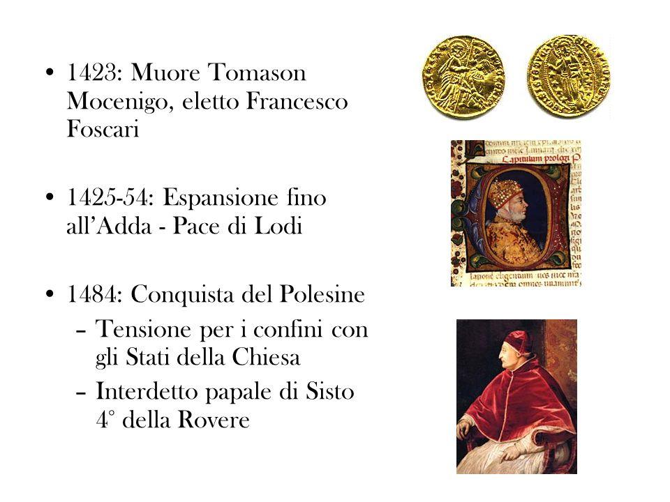 1423: Muore Tomason Mocenigo, eletto Francesco Foscari