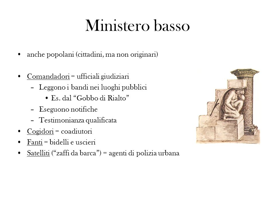 Ministero basso anche popolani (cittadini, ma non originari)
