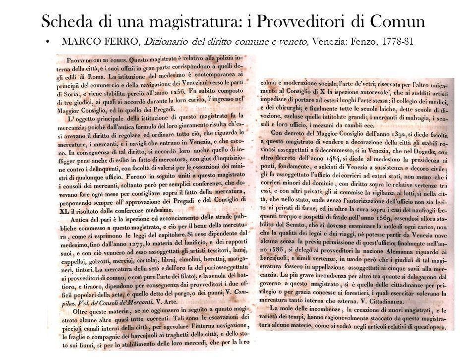Scheda di una magistratura: i Provveditori di Comun