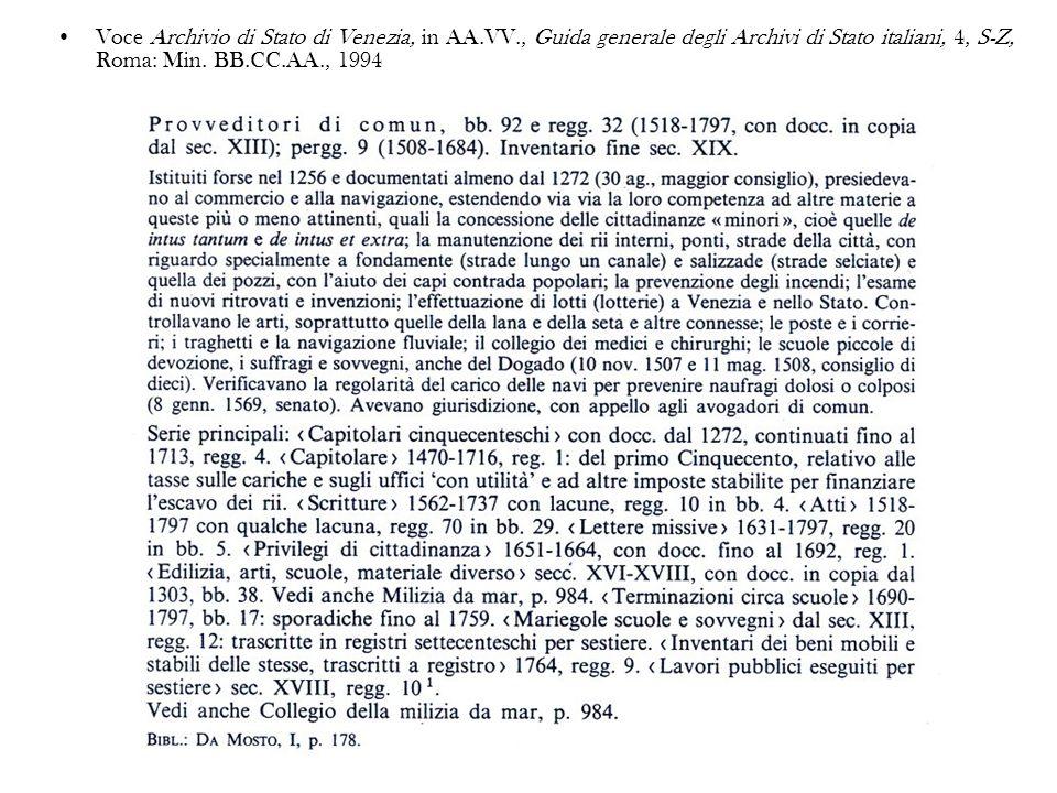 Voce Archivio di Stato di Venezia, in AA. VV