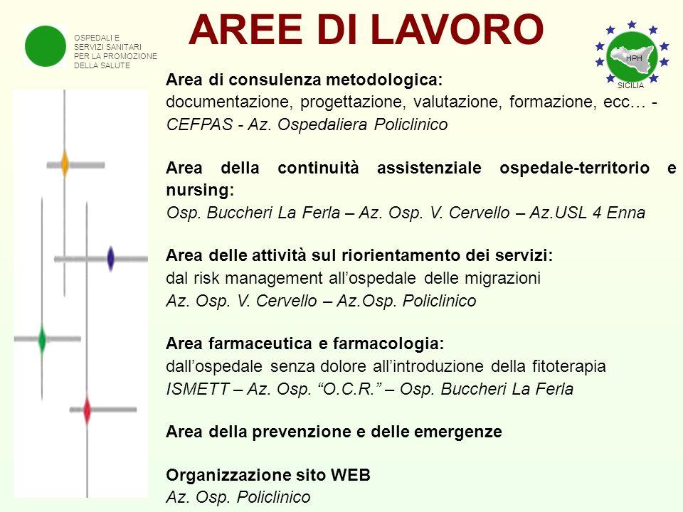 AREE DI LAVORO Area di consulenza metodologica:
