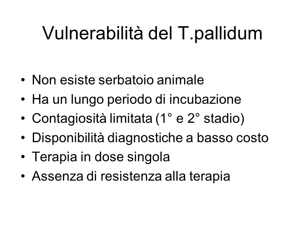 Vulnerabilità del T.pallidum