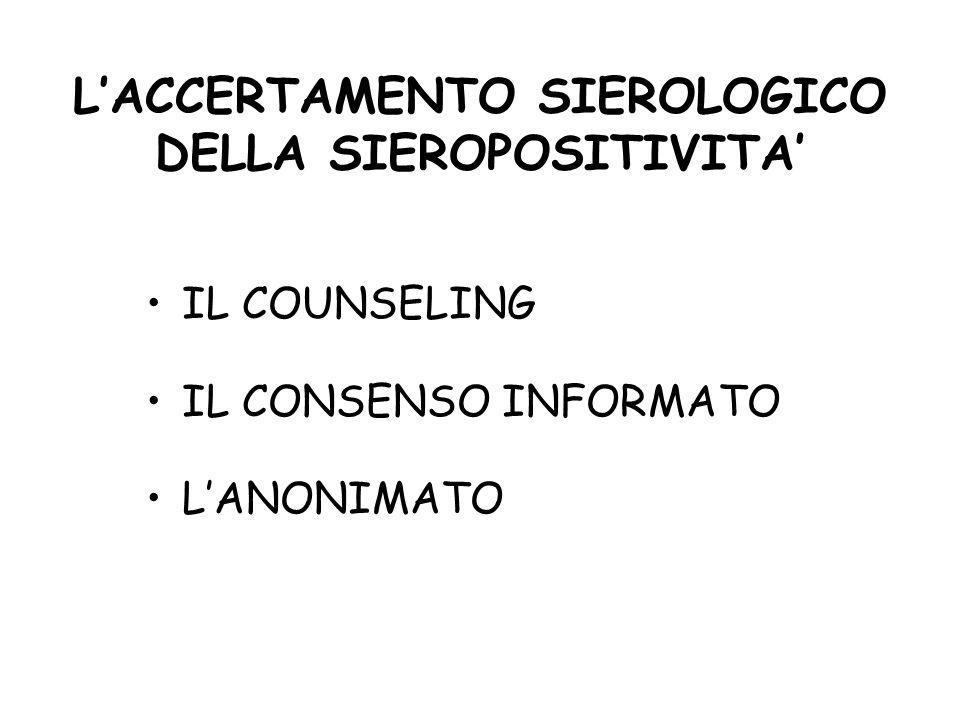 L'ACCERTAMENTO SIEROLOGICO DELLA SIEROPOSITIVITA'