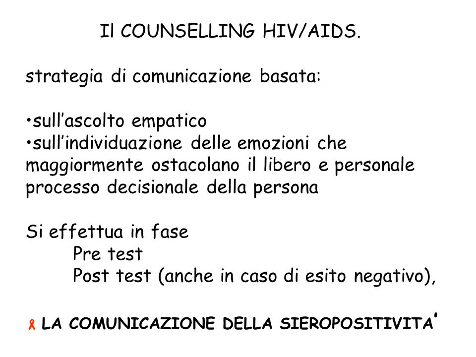 Il COUNSELLING HIV/AIDS.