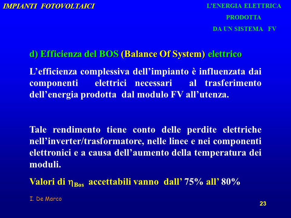 d) Efficienza del BOS (Balance Of System) elettrico