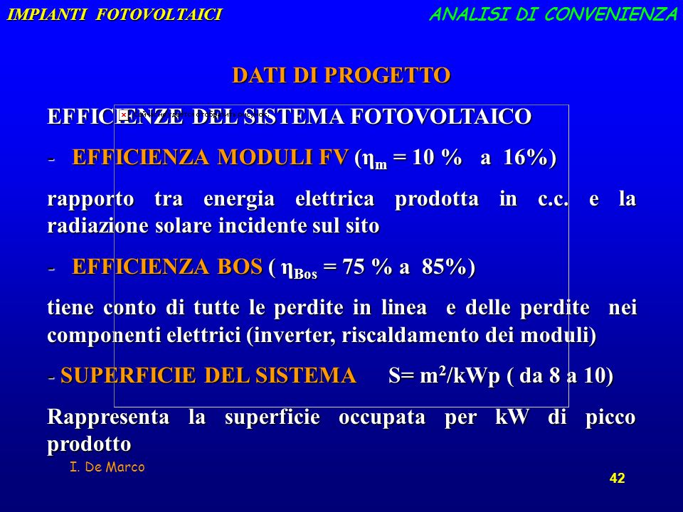 EFFICIENZE DEL SISTEMA FOTOVOLTAICO
