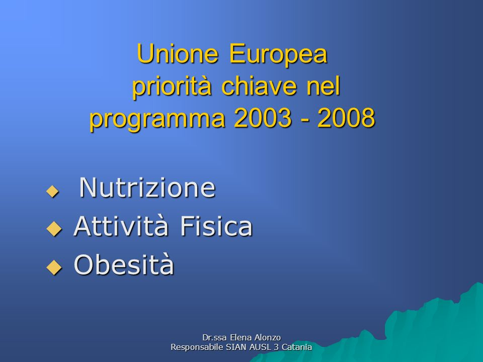 Unione Europea priorità chiave nel programma 2003 - 2008