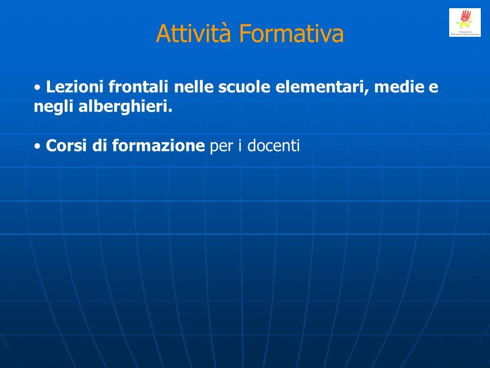 Attività Formativa Lezioni frontali nelle scuole elementari, medie e negli alberghieri.