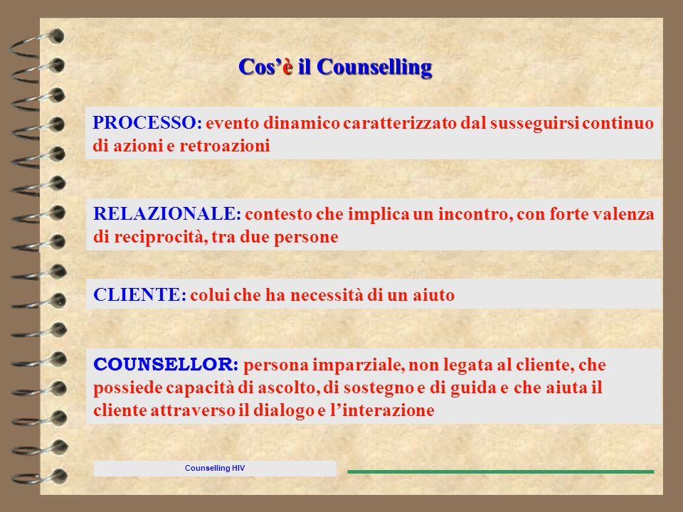 Cos'è il Counselling PROCESSO: evento dinamico caratterizzato dal susseguirsi continuo di azioni e retroazioni.