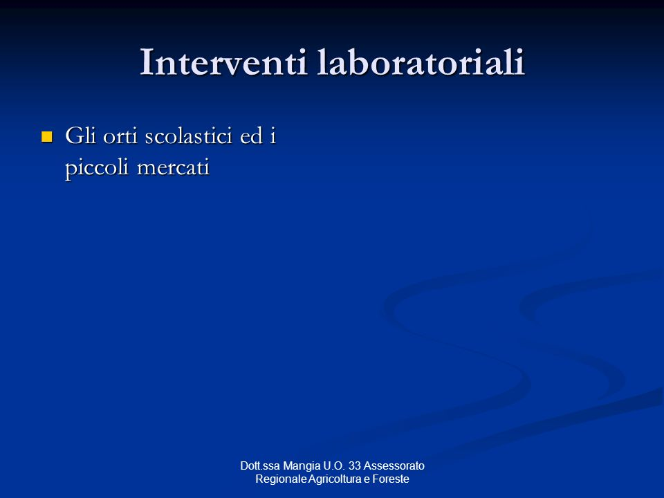 Interventi laboratoriali
