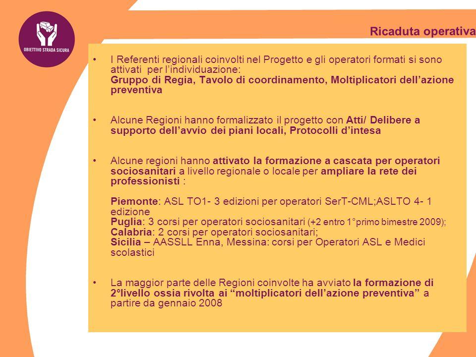 Ricaduta operativa I Referenti regionali coinvolti nel Progetto e gli operatori formati si sono attivati per l'individuazione: