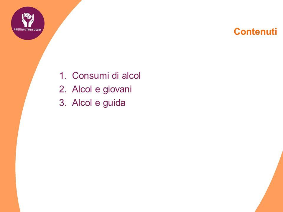 Contenuti Consumi di alcol Alcol e giovani Alcol e guida