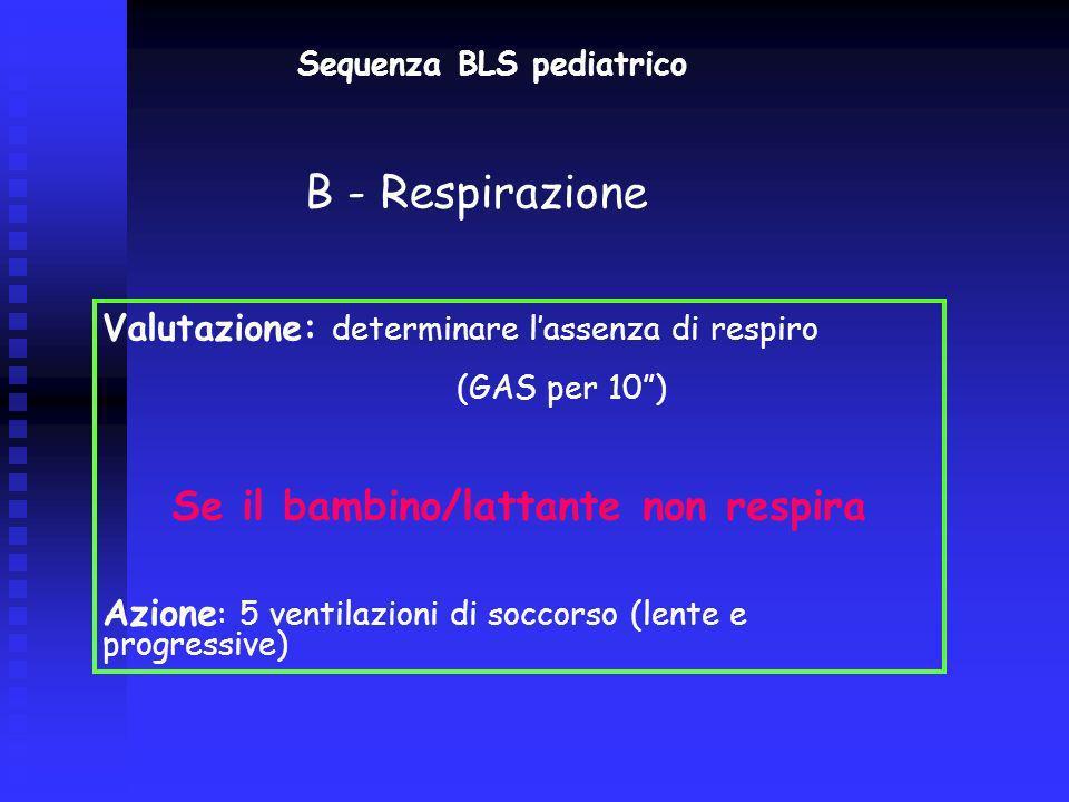 Sequenza BLS pediatrico Se il bambino/lattante non respira
