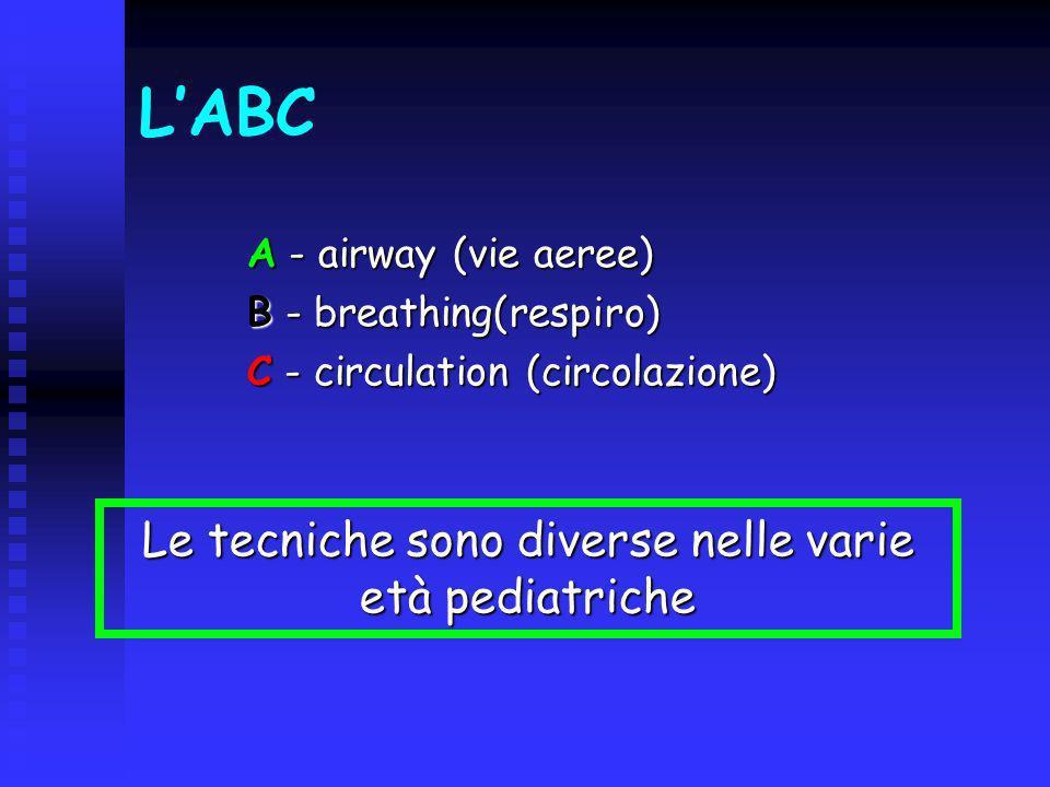 Le tecniche sono diverse nelle varie età pediatriche