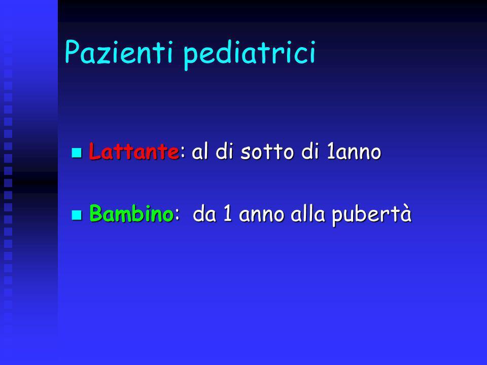 Pazienti pediatrici Lattante: al di sotto di 1anno