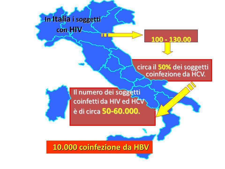 10.000 coinfezione da HBV In Italia i soggetti con HIV 100 - 130.00