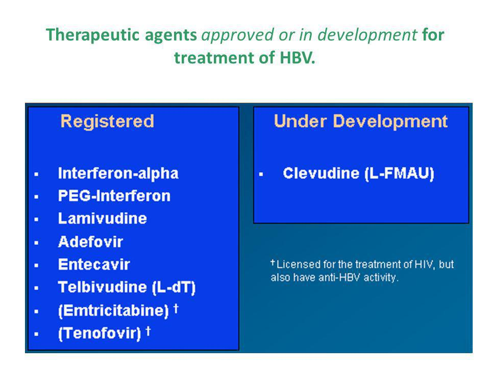 Therapeutic agents approved or in development for treatment of HBV.