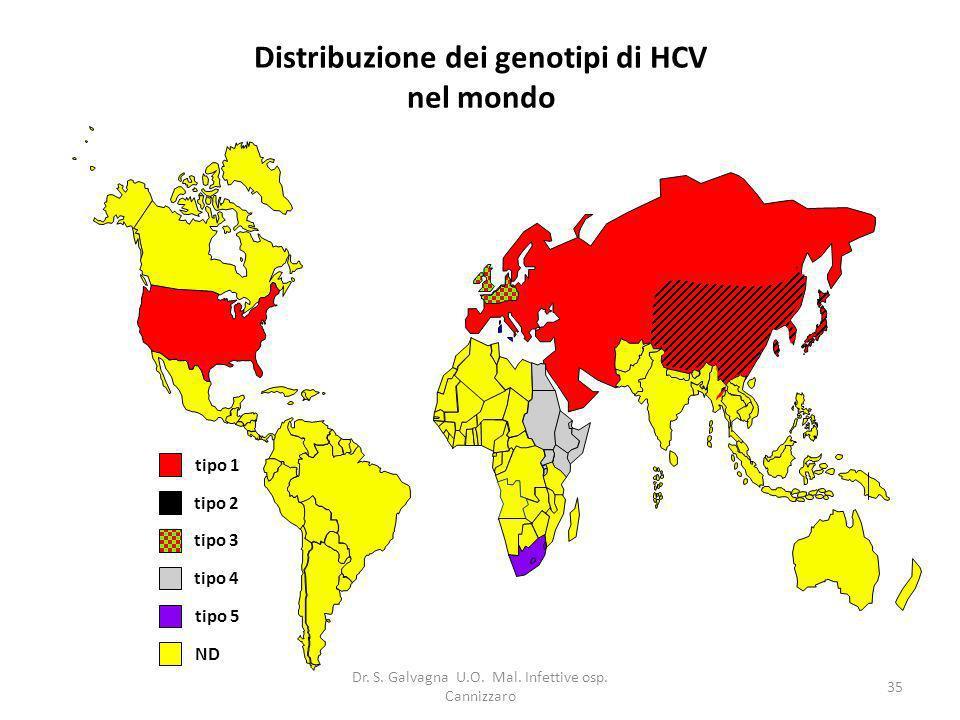 Distribuzione dei genotipi di HCV nel mondo