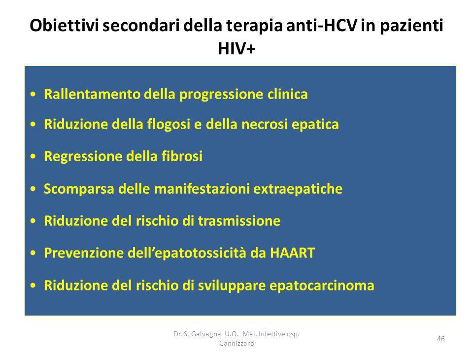 Obiettivi secondari della terapia anti-HCV in pazienti HIV+