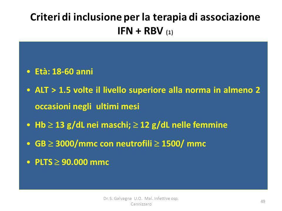 Criteri di inclusione per la terapia di associazione IFN + RBV (1)