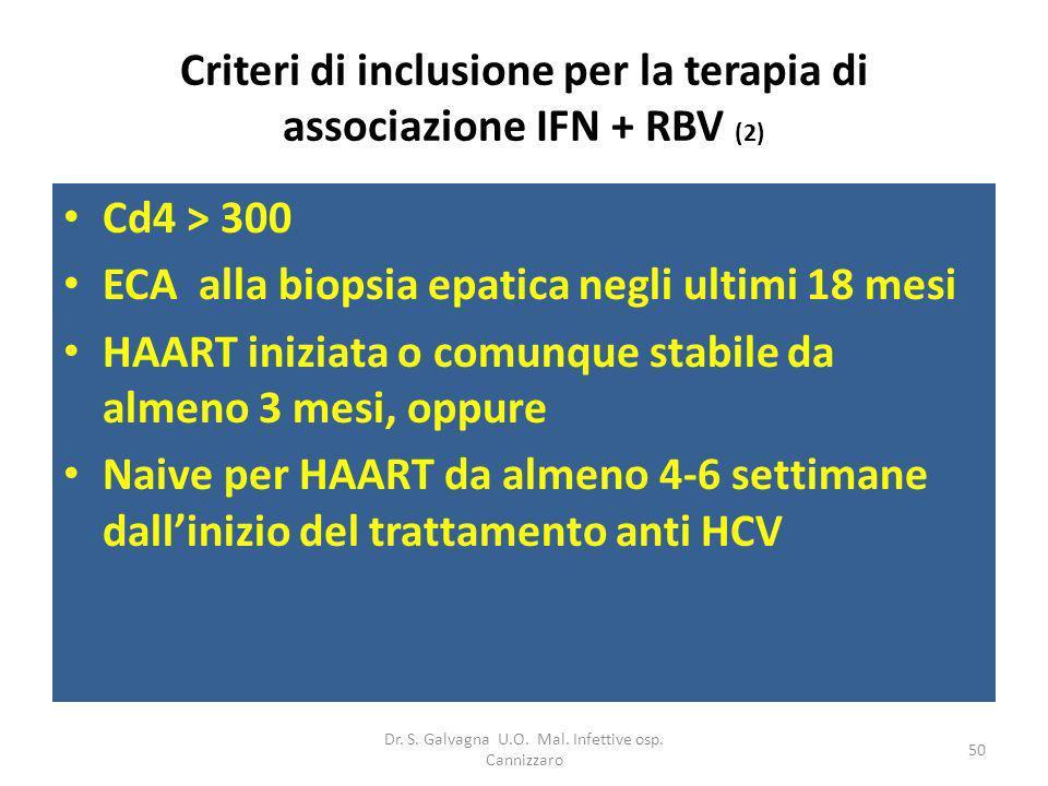 Criteri di inclusione per la terapia di associazione IFN + RBV (2)